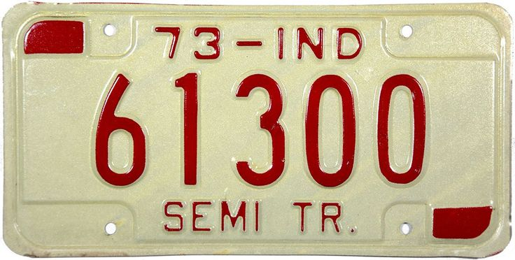 1973 Indiana Semi Trailer License Plate