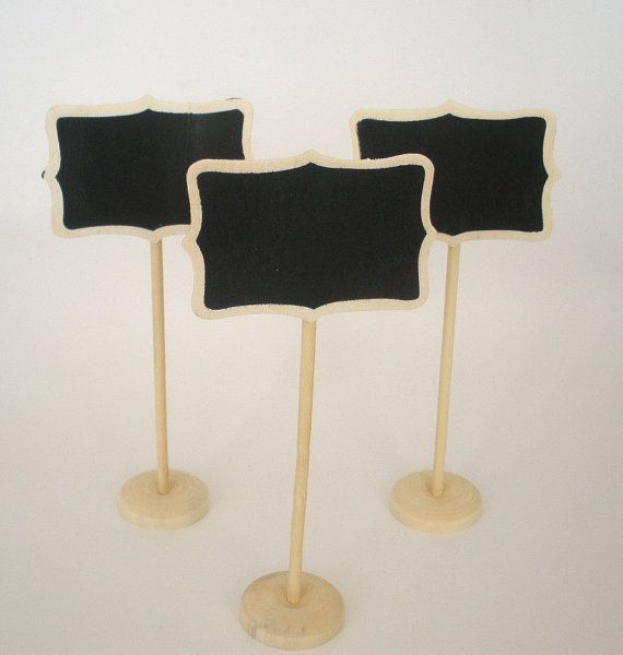 Mini Chalkboard Stands (3) Natural Wood Finish Name Place Settings Buffet Table Weddings Birthdays Food Labels Table Markers