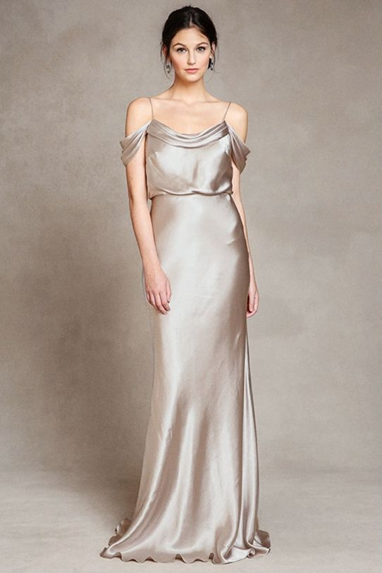 Jenny Yoo Champagne Silk Bridesmaids Dress
