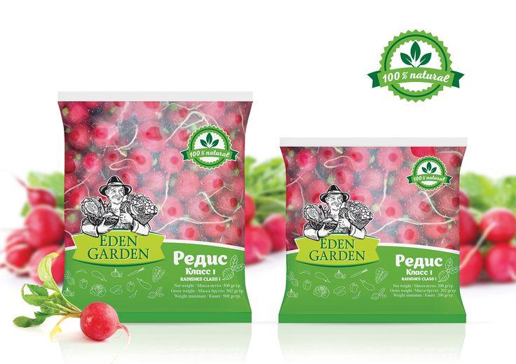 Дизайн упаковки редиса для компании Eden Garden. packaging design Radish for the company Eden Garden