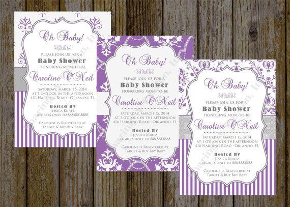 Purple Baby Shower Invitation  Purple Bridal by SharingAPassionINC, $12.25