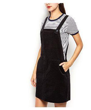 Black Cord Pinafore Dungaree Dress | New Look