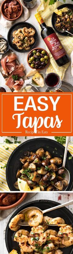 5 Easy Spanish Tapas recipes - all your favorites from the tapas bar! Garlic mushrooms, chorizo, garlic shrimp/prawns, Spanish marinated olives , Spanish omelette and a cheese platter! www.recipetineats.com