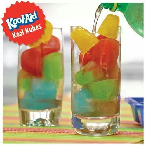 Make kool aid ice cubes, pour sprite v over them, a fun kids, party drink
