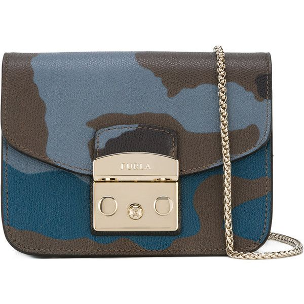 Furla clasp front bag ($296) ❤ liked on Polyvore featuring bags, handbags, blue, real leather purses, genuine leather handbags, blue leather purse, blue leather handbags and blue camo purse
