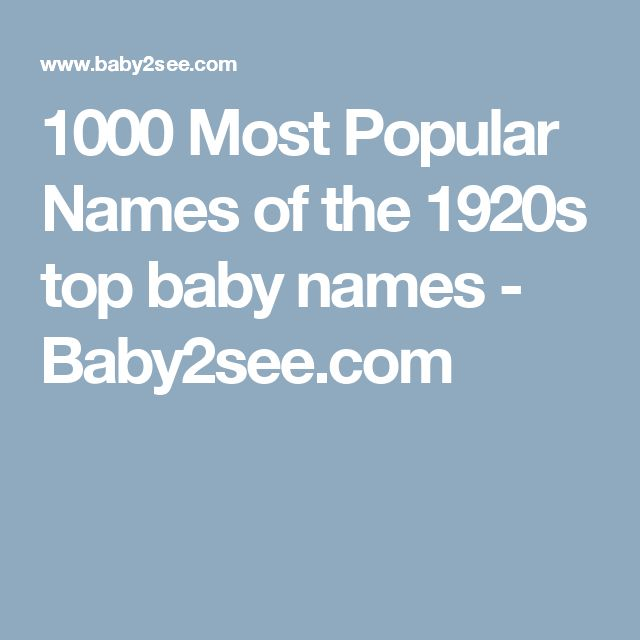 1000 Most Popular Names of the 1920s top baby names - Baby2see.com