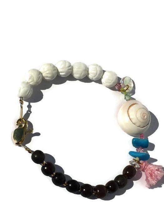 Bracelet coquillage turquoise et nacre