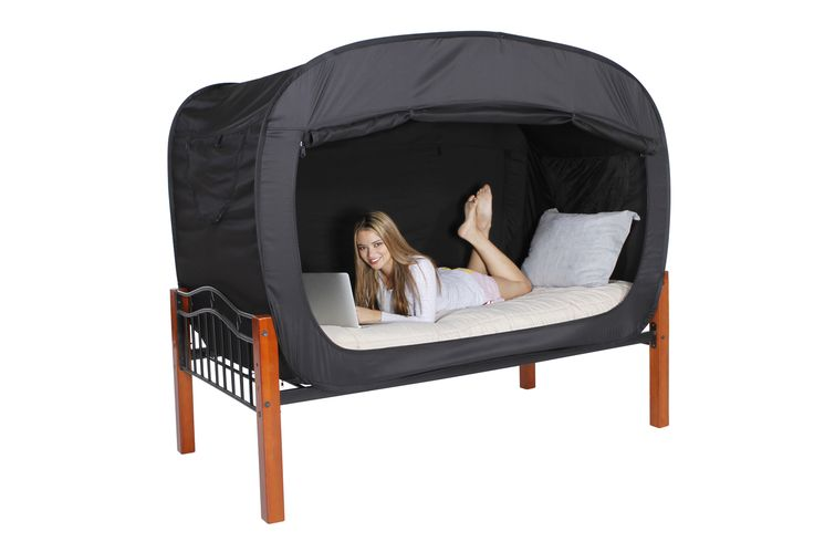 Cool idea -- Privacy Pop Bed Tent, $129.99 (http://www.privacypop.com/privacy-pop-bed-tent/)