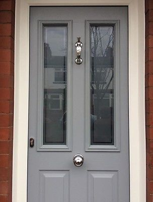 Upvc grey colour composite front door made to measure for Wood effect upvc french doors