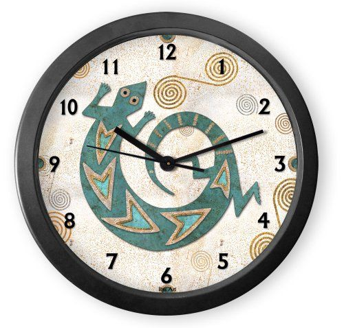 From our Southwestern Clocks category, Turquoise Lizard Round Acrylic Wall Clock has a traditional Native American gecko symbol. Each clock is handcrafted in our Santa Fe, New Mexico studio. This clock has a second hand and makes a ticking sound. $34.50