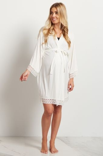 Ivory Lace Trim Delivery/Nursing Maternity Robe