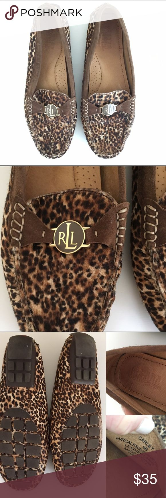 Ralph Lauren Carly II Cheetah Penny Loafer These are SO comfy! Padded leather footbed makes them literally feel like slippers- but so much more chic! Made of real leather and calf hair, with a rubber sole for better traction. Slip on design for easy on and off. Logo medallion at the front and a logo on back. The logo medallion on one shoe is a bit loose, but a little glue will fix that. Size 9. Seriously these are gorgeous, classic shoes that you will wear again and again. Google for more…