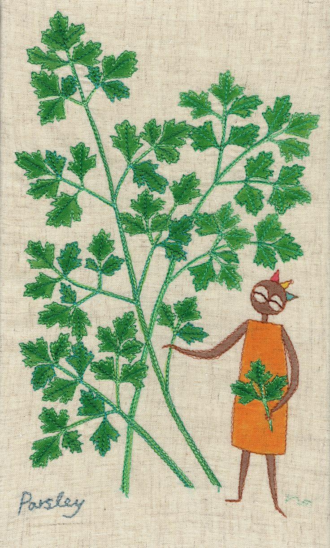 """herb no.9 """"parsley"""" needlework illustration Ⓒ Nagako Ono HAPPa_Ya #embroidery #herbs"""
