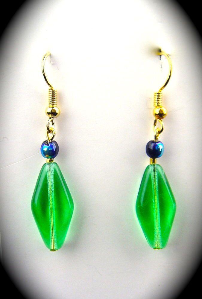 LOT TWO Vintage Czech Glass Earrings Dangle Drop BLACK GREEN GOLD BRONZE #Unbranded #DropDangle
