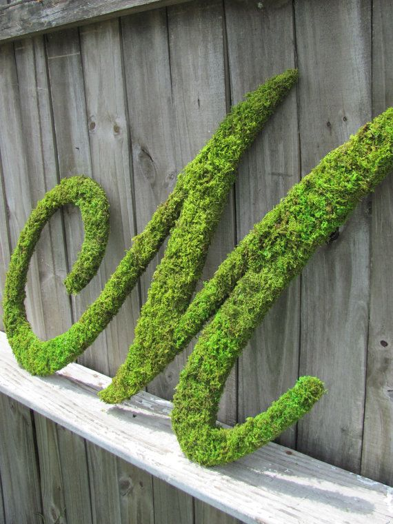 Large Moss Covered Letter M / Rustic Wedding Sign / Monogram Script / Any Letter / Home Decor on Etsy, $85.00