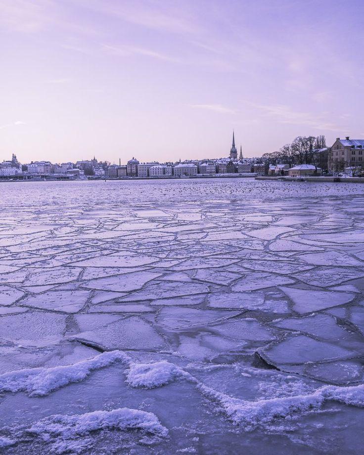 Coucher de soleil d'hiver sur Stockholm
