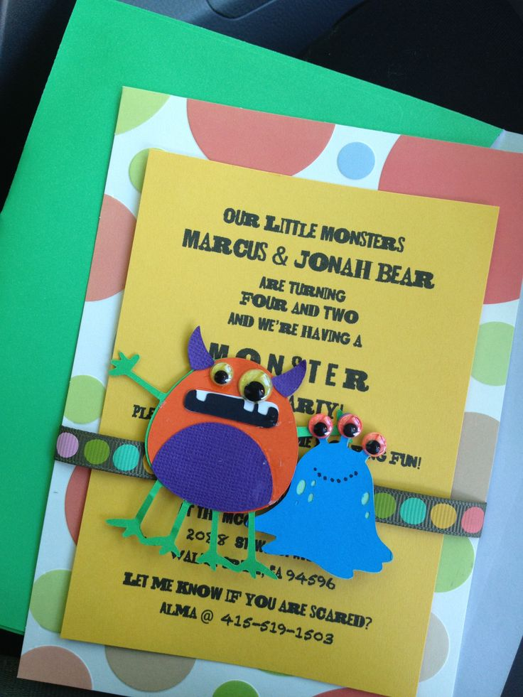 Monster invitations diy done for my two bday boys bday