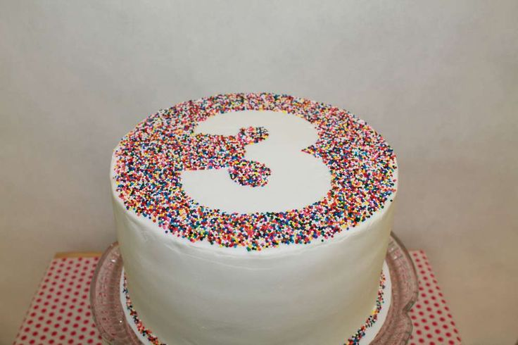 A simple but stunning way to make your cake stand out! Put your stencil down and sprinkle the sprinkles around it!