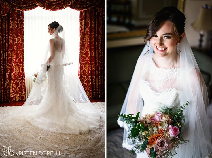 Bridal portrait. Lace gown by Enzoani from Bryan's Bridal.