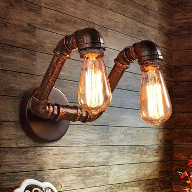 Retro industrial loft pipe wall light sconces lamp Ac90-220v Edison bulb vintage home lighting fixtures for bar livingroom