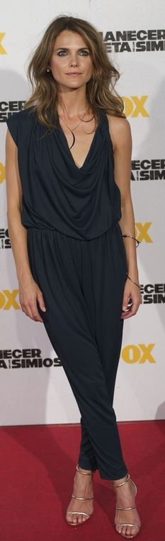 Who made Keri Russell's gold sandals, cowl neck jumpsuit, and jewelry that she wore in Madrid