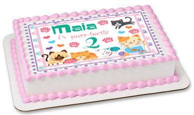 Cat cake topper cat edible cake image cat party kitten cake