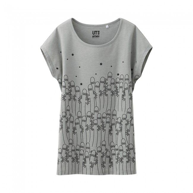 Uniqlo x Moomin French Sleeve T-Shirt - Ghosts (Gray)