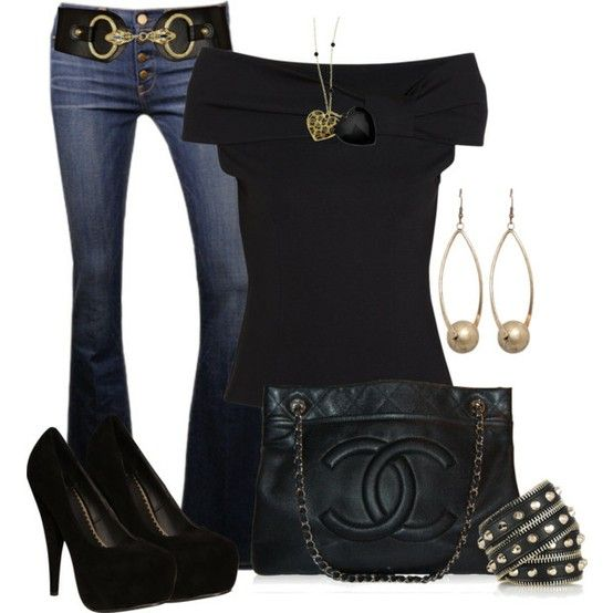 cuteChanel Bags, Fashion, Style, Clothing, Black Outfit, Jeans, Black Gold, Dates Night, Cute Outfit