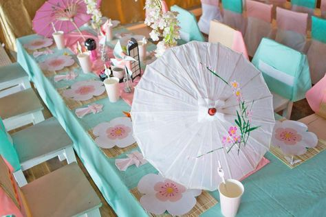 Cherry blossom table at a  Japanese birthday party! See more party ideas at CatchMyParty.com!