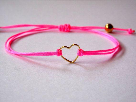 FRIENDSHIP BRACELET -   Valentines day - Hot Pink Neon Shamballa Nylon Cord - Gold tone metal heart - Adjustable closing