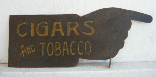 21in long x 8in high. Antique Cigar/Tobacco Shop Trade Sign Vtg Old Metal Folk Art AAFA Primitive