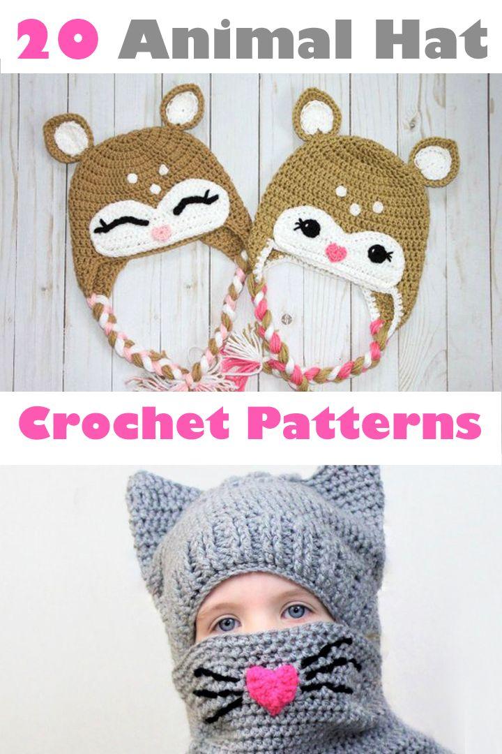 animal hat crochet patterns - crochet pattern pdf - amorecraftylife ...