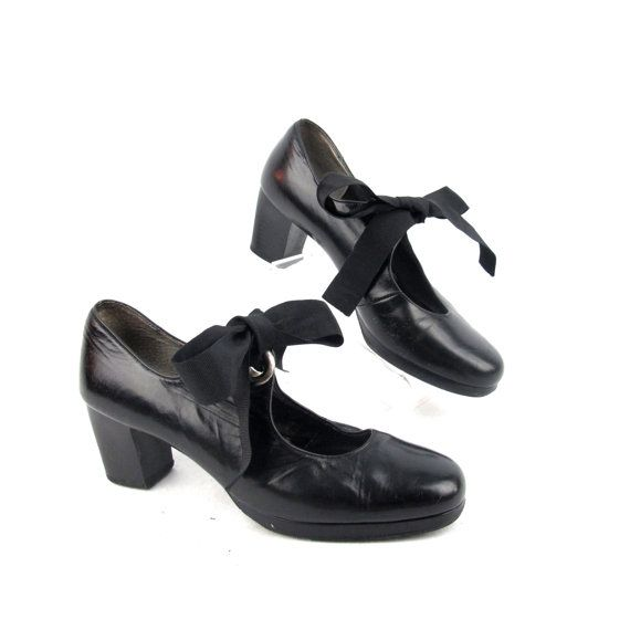 80s 90s Black Mary Jane Heels Leather Ribbon Bow by honeymoonmuse
