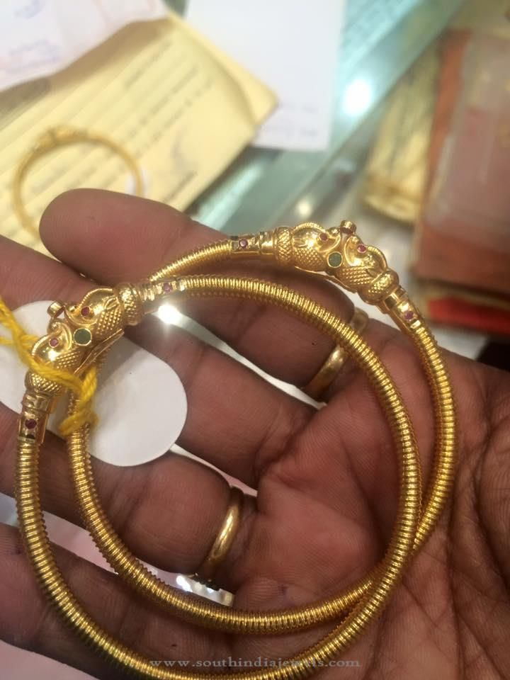 Simple Gold Kada Bangle Designs, Gold Kada Style Bangle Designs, Kada Bangles with weight.