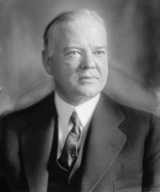 Herbert Clark Hoover, a member of the Republican Party, took office as the 31st President of the United States on March 4, 1929 at age 54. Hoover served in office for 4 years and left when he lost reelection. He was born in West Branch, Iowa and received an education from George Fox University.