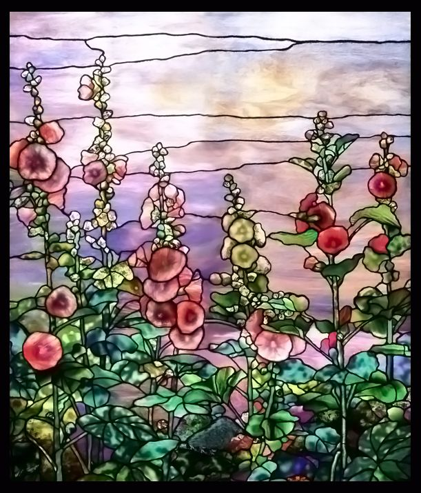 Tiffany Hollyhocks Stained Glass for your bathroom.