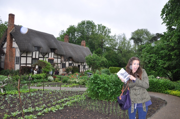 Bootlicker outside Anne Hathaway's home in Stratford, England.