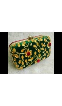 Women's Embroidery Work Green Color Fashion Clutch Purse | FH10351407 Follow Us @heenastyle  #Embroidery #Clutch #Fashion #Bags #Online #Clutchbag #BagsOnline #OnlineShopping #Heenastyle