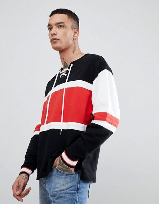 23d2d9fa95 DESIGN oversized color block sweatshirt with lace up neck in 2019 ...
