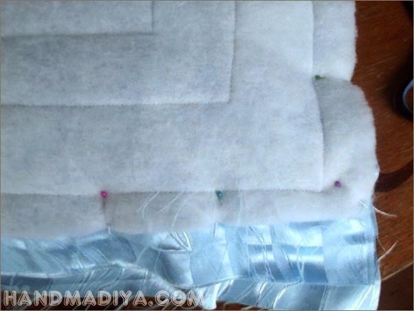 Стеганая подушка - думка из голубого атласа.  Quilted satin pillow