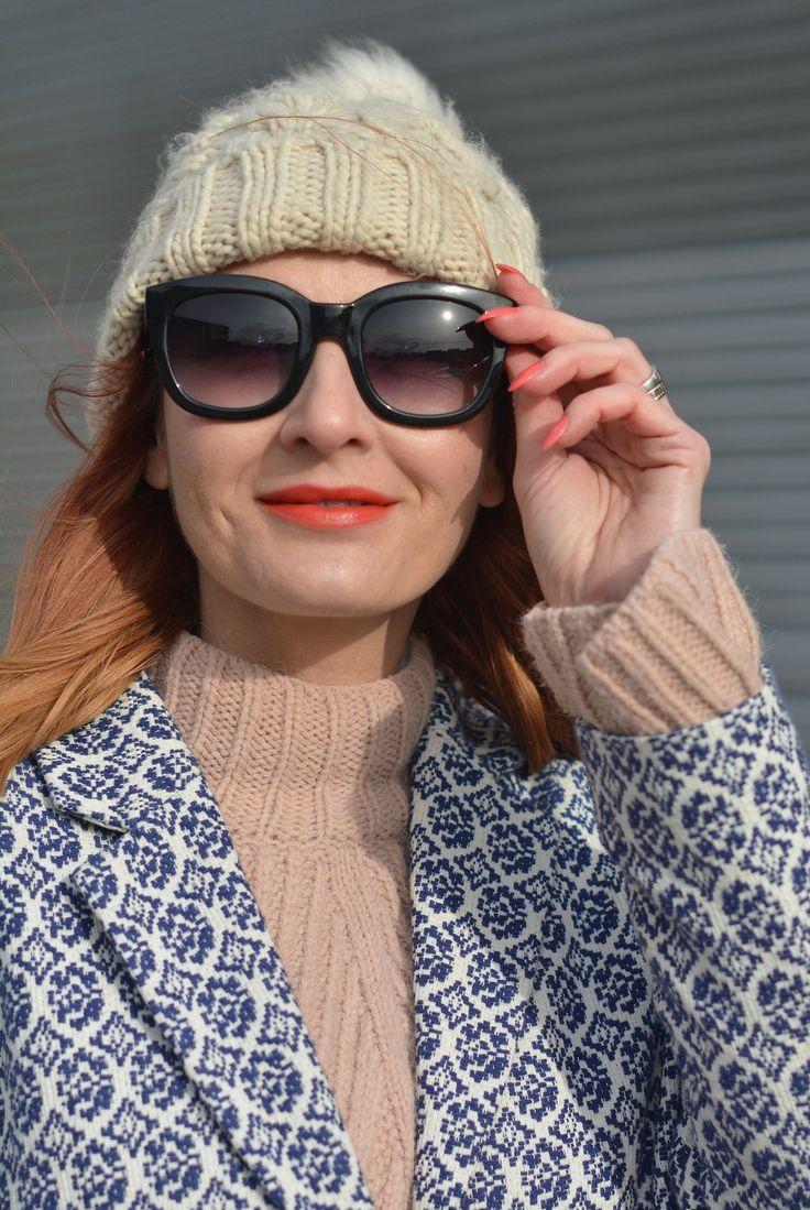 Blush pink sweater, cream bobble hat, blue jaquard coat   Not Dressed As Lamb