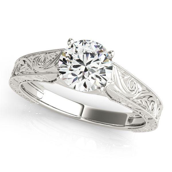 ''Mantica'' Fine Vintage Diamond Engagement Ring with Filigree Design