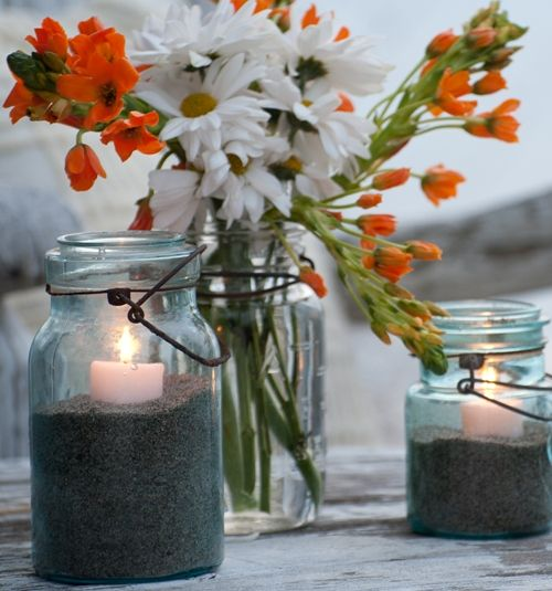 diy outdoor party lighting. outdoor party lighting with vintage mason jars candles and sand diy