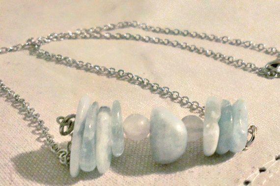Understated #pi necklace in snowy quartz and aquamarine.