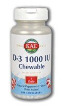 KAL - D-3 Peppermint - 1000 IU - 200 chewable tablets by Kal. $13.56. Vitamin D is essential for the proper formation of the skeleton and for mineral homeostasis. Kal. D-3 1000 IU Peppermint by Kal 200 Chewable Vitamin D is essential for the proper formation of the skeleton and for mineral homeostasis. Each chewable has a refreshing peppermint flavor. Size 200ct 1000iu Directions Take 1 chewable tablet daily with a meal or glass of water. Store in a cool dry place. Servin...