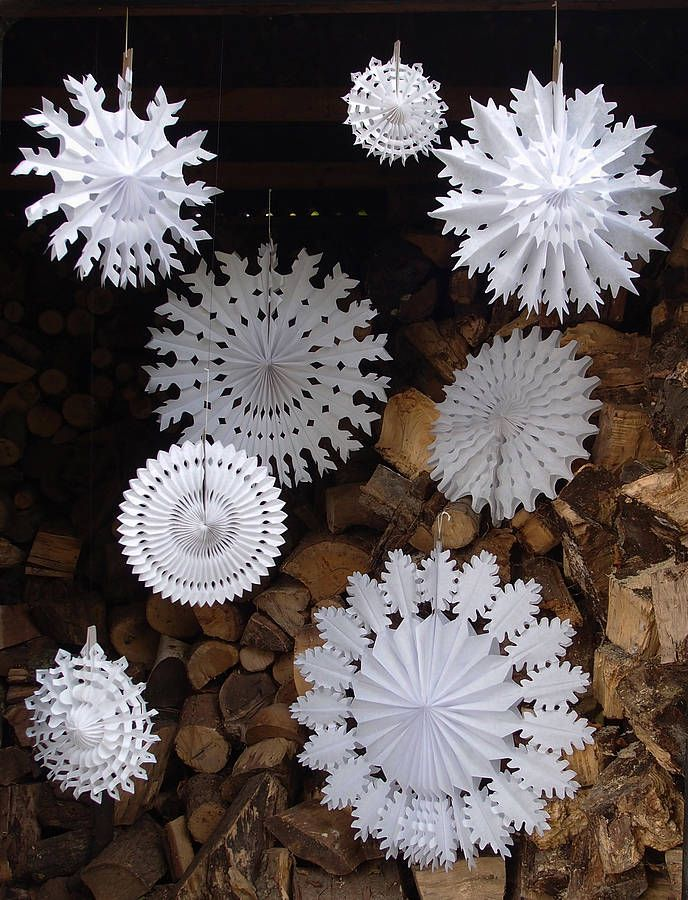 set of eight paper snowflake decorations by petra boase | notonthehighstreet.com