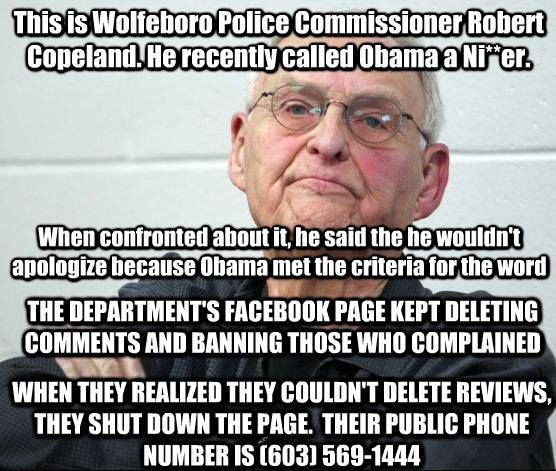 So the Wolfeboro Police Department Facebook page was shut down when they realized they couldn't delete the negative reviews people were leaving. Their phone number was listed on that page, though, with instructions to call if you ever needed them...