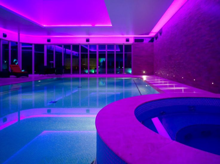 Swimming Pool: Green Underwater Pool Lights Added With Purple Floor Lamp And House Lighting: