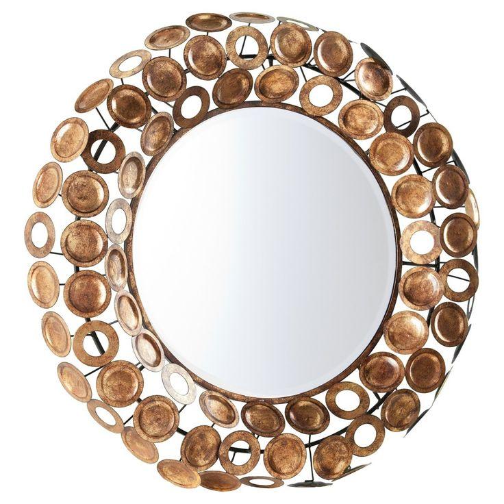 Jarson Round Decorative Mirror - Galvanized Burnished Gold - Aiden Lane, Antique Gold