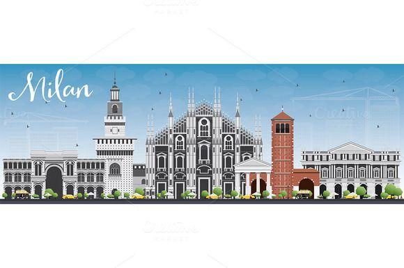 #Milan #Skyline with Gray Landmarks by Igor Sorokin on @creativemarket